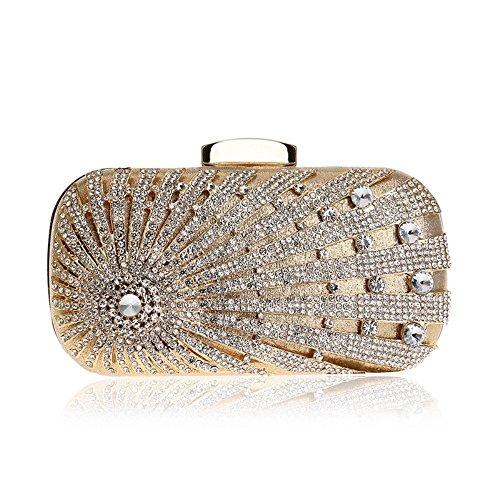 del de Incrustaciones Gold Bolso Embrague Gold de de Mujeres Noche Banquete Vestido Noche de Color Bolso de del Tarde XS Size del BBethun con Diamantes U0qTT
