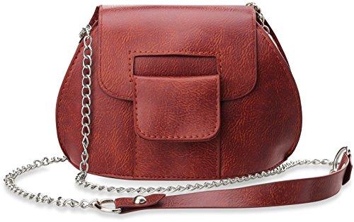 kleine klassische Schultertasche Damentasche mit Magnetverschluß und Kettenriemen rot