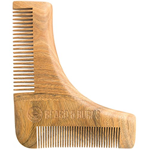 Beard Comb & Shaping Tool by Beard and Burns – 100% Natural Sandalwood Comb – Perfect with Beard Oil & Balms – Anti Static & Snag Free – Great Addition to Beard Kit