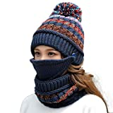 Women's Winter Beanie Warm Fleece Lining Scarf Mouth Mask Set for Girl Ski Hat with Pompom (Blue)