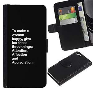 All Phone Most Case / Oferta Especial Cáscara Funda de cuero Monedero Cubierta de proteccion Caso / Wallet Case for Apple Iphone 5 / 5S // mujer feliz atención amor inspirador