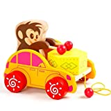 Cute Animals Toy Bear Monkey Beat Drums Baby Kids Push Pull Toys Early Learning Educational Wooden Walking Walker Toy Hand Push Cubs,Perfect Walking Walker Tools for Toddler