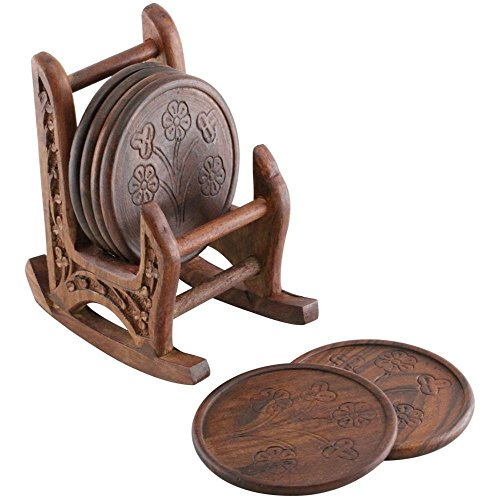 SouvNear 5 Inches Wood Drink Coasters Set with 6 Round Table Coasters and Brown Rocking Chair Coaster Holder