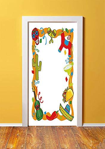 Fiesta 3D Door Sticker Wall Decals Mural Wallpaper,Cartoon Drawing Style Mexican Pinata Taco Chili Pepper Sugar Skull Pattern Guitar,DIY Art Home Decor Poster Decoration 30.3x78.14612,Multicolor