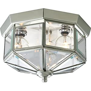 Progress Lighting P5788-09 Octagonal Close-To-Ceiling Fixture with Clear Bound Beveled Glass, Brushed Nickel
