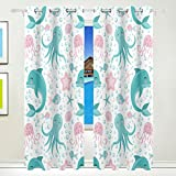 Vantaso Window Curtains 84 Inch Long Sea Animals Octopus Dolphin Jelly Fish for Kids Girls Boys Bedroom Living Room Polyester 2 Pannels