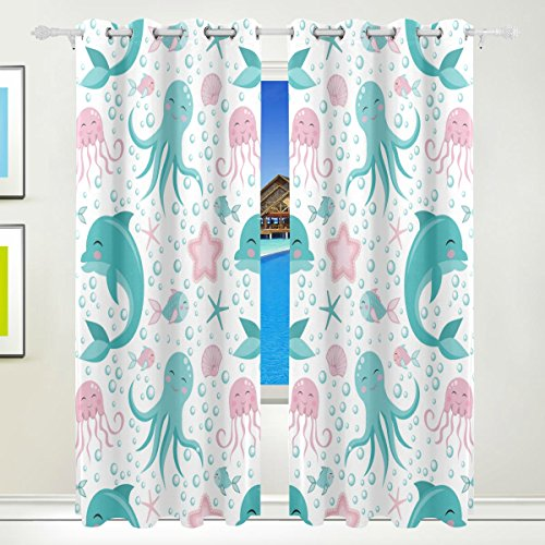 Vantaso Window Curtains 84 Inch Long Sea Animals Octopus Dolphin Jelly Fish for Kids Girls Boys Bedroom Living Room Polyester 2 Pannels by Vantaso