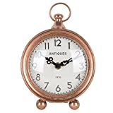 NIKKY HOME Vintage Pewter Quartz Round Table Clock with Handle 4.75'' by 2.12'' by 6.12'', Red Copper