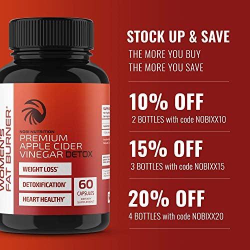 Nobi Nutrition Apple Cider Vinegar Fat Burner Pills for Women - Premium Weight Loss Supplement - Womens Metabolism Booster & Appetite Suppressant - Thermogenic Diet Pills - 60 Veggie Capsules 11