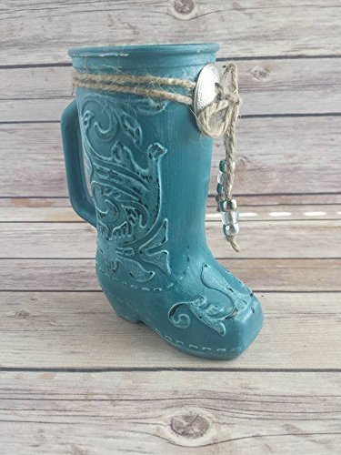 Amazon Turquoise Glass Boot Vase Handmade