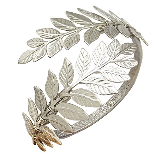 Silver Tone RechicGu Greek Roman Laurel Leaf Bracelet Armband Upper Arm Cuff Armlet Festival Bridal (Arm Band Jewelry)
