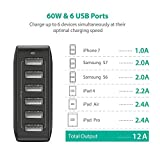 RAVPower 60W 12A 6-Port USB Charger Desktop Charging Station with iSmart, Compatible with iPhone X 8 7 Plus, iPad Pro Air Mini, Galaxy S9 S8 S7 S6 Edge, Tablet, Kindle and More (Black)