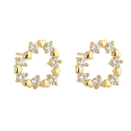 180cf9b7575b4 A Pair of Heart Shaped Tanabata Color Zircon Stud Earrings Exquite ...