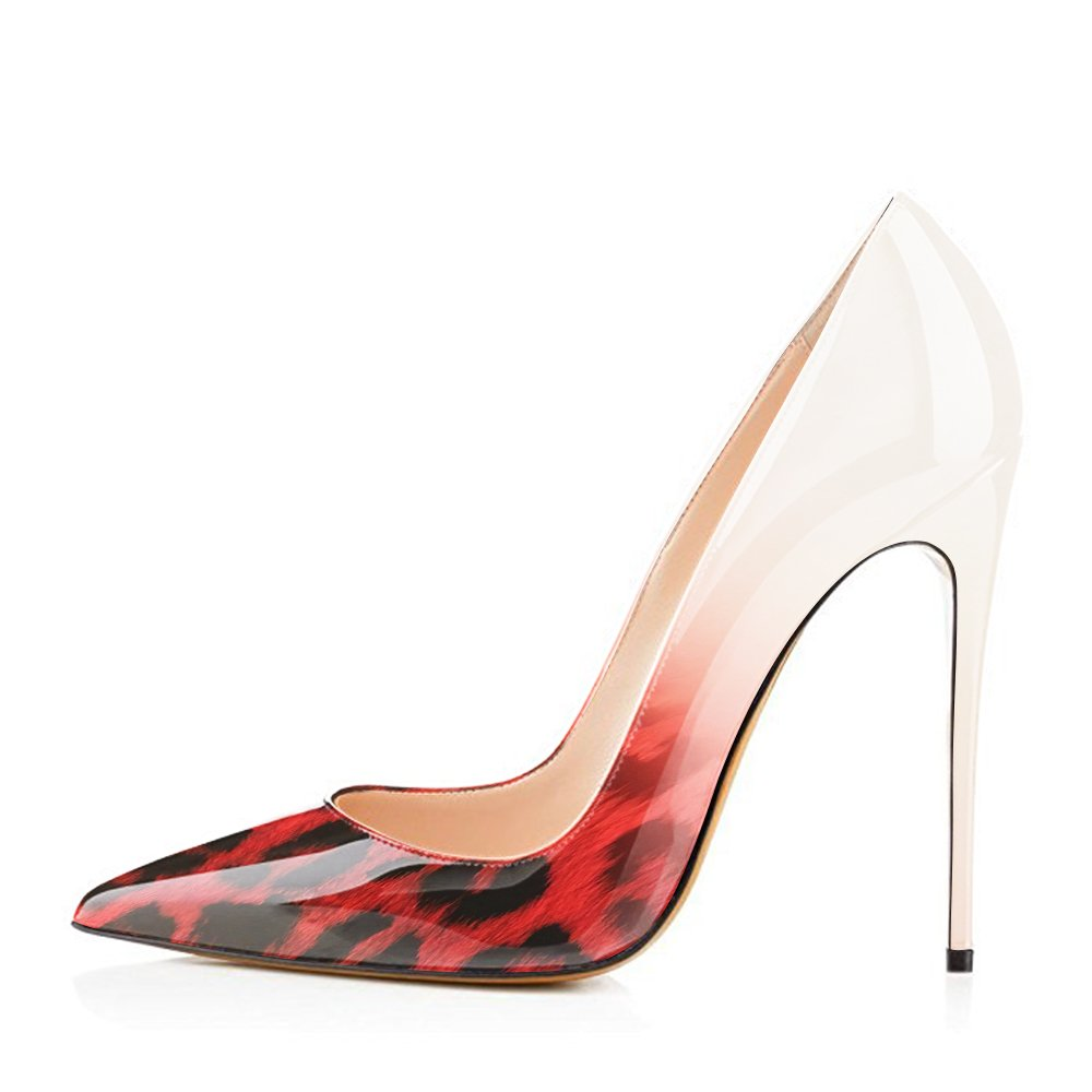 Modemoven Women's Pointy Toe High Heels Slip On Stilettos Large Size Wedding Party Evening Pumps Shoes B071S7FQCV 12 B(M) US|Red Leopard