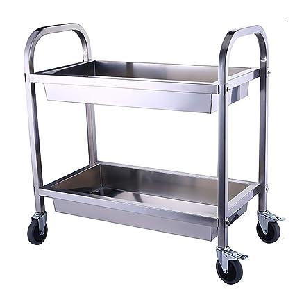 4fa8d290f10b Amazon.com - Serving Wine Cart Caster Wheels, 2-Tier Rolling Metal ...