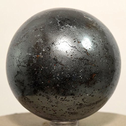 Healing Crystals India 40-50mm Natural Gemstone Sphere Ball w/Reiki Aura Balancing Metaphysical Yoga Meditation Energy Generator (Hematite)
