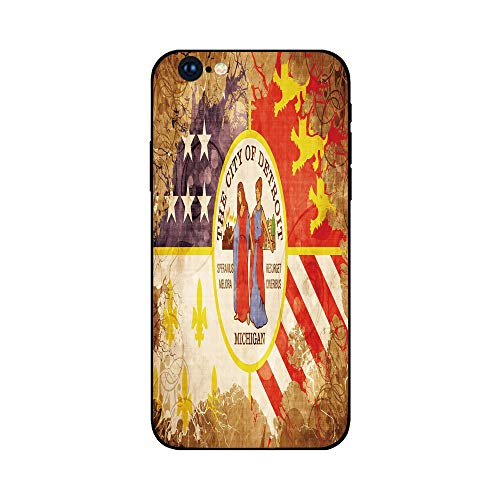 Phone Case Compatible with iphone6 Plus iphone6s Plus mobile phone protecting shell Brandnew Tempered Glass Backplane,Detroit Decor,Antique Detroit Flag with Floral Swirls Grungy Look Vintage Old Amer ()
