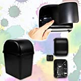 Zone Tech Portable Mini Car Garbage Can with Latch Grip – 2-Pack Classic Black Premium Quality Black Universal Traveling Portable Car Trash Can