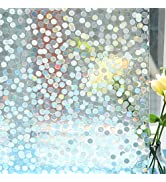 Mikomer Decorative Window Film,Small Dots Low Privacy Door Film,Static Cling No Glue Removable An...