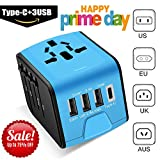 Universal Travel Adapter -Whlzd International Travel Power Adapter W/Smart High Speed 3.4A Type C 4 USB Wall Charge, Worldwide AC Wall Outlet Charger Adapters for UK, US, AU, Europe & Asia(Blue)