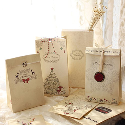 6pcs/set Kraft Paper Bag Merry Christmas Gift Bags Party Lolly Favour Bowknot Wedding Packaging 22x12x6cm - Outfitters Urban Reviews Shipping