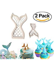 Mermaid Tail Cookie Cutters Plastic Mermaid Cake Fondant Molud Topper Cupcake Decoration Tool- Set of 2