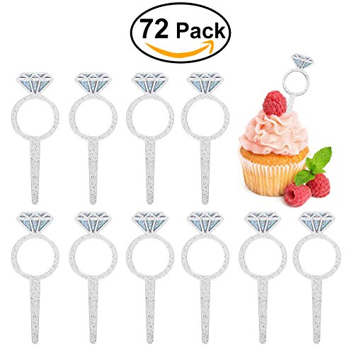"Price comparison product image HOMEMAXS Cupcake Toppers -- Glittery ""Diamond Ring"" Decorations for Weddings,  Bridal Showers,  Etc.,  72 Pieces"