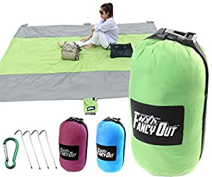 Sand Free Compact Beach Blanket-Oversized 9'x10' for 7 Adults-Very Soft Ripstop Nylon Picnic Mat for Festival & Hiking-5 Weightable pockets and 4 Anchor Loop & Stakes (Green)