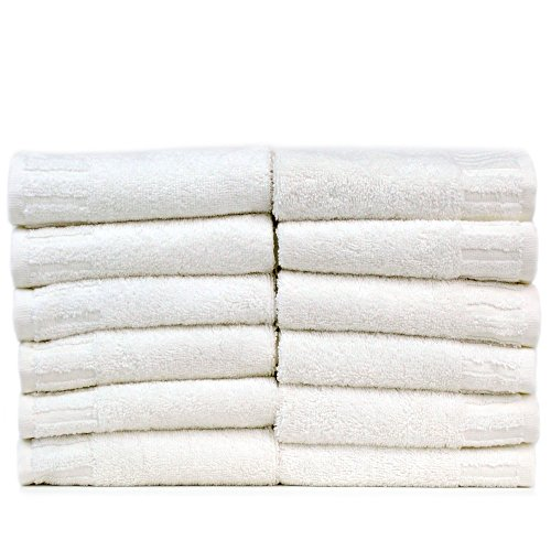 Bare Cotton Luxury Hotel & Spa Towel Turkish Cotton Wash Cloths,White, Piano, Set of 12 by BC BARE COTTON
