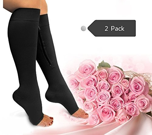 Zipper Compression Socks Toe Open for Varicose Veins and Edema , Unisex Zipper Design Easy to Wear (2 pack) (Black-Black, L/XL)