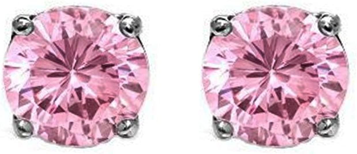 Purple /& Clear Cubic Zirconia Round Stone Rose Gold Plated Stud Pierced Earrings
