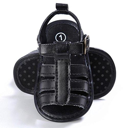 Hunpta Baby Kleinkind Mädchen niedlich Krippe Schuhe T gebunden weichen Prewalker weiche Sohle Anti-Rutsch Klettverschluss Schuhe Sandalen Schwarz