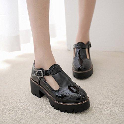 Chaussures forme femme Mee Escarpins De Bloc Boucle Charme Plate Talon Mi La De Femme Noir De dp7Spqwvx