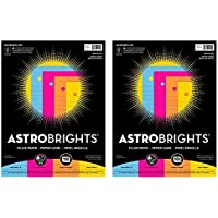 Astrobrights-25910-01 Filler Paper, 8 x 10-1/2 Inches, 20 lb, Assorted Colors, 100 Sheets (2 Pack)