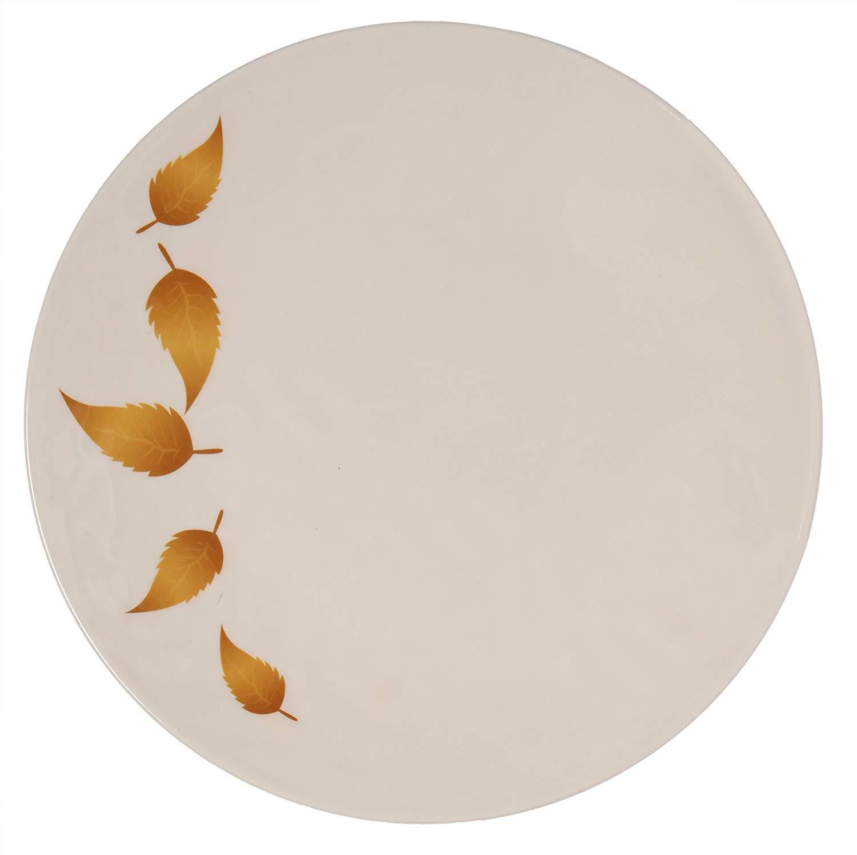 Shatter-Proof and Chip-Resistant Melamine Dinner Plates Ruby Compass Melamine 612409792037 Melange 6-Piece 100/% Melamine Dinner Plate Set Gold Leaves Collection