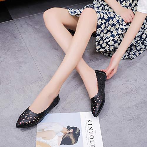 Bout évider Chaussures Forme Décontractées Fleur Noir Plat Chaussures Creux Talon Chaussures à Nude Plates BaZhaHei Pointu Femmes HnS100