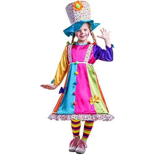 Dress Up America Girl's Polka Dot Clown Costume - Size Small (4-6)