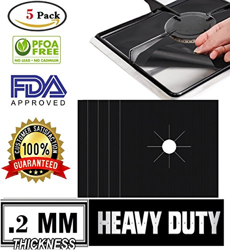 Pack of 5 Pre-Cut High Quality Safe Non-Stick Black Stove Top Liners-Burner Covers-Gas Range Protector-Stove Burner Cover-Double Thickness 0.2mm-Reusable & Dishwasher Safe-SATISFACTION GUARANTEED Coleman Gas Iron