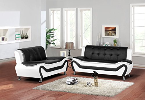 Leather Modern Loveseat Black (Container Furniture Direct S5411-S+L Arul Leather Air Upholstered Mid Century Modern Set 77.5