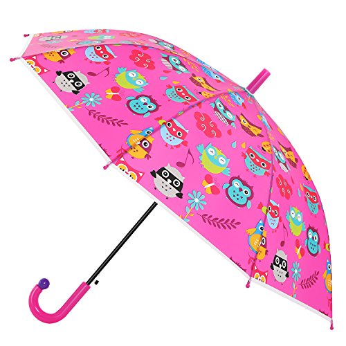 Avenko Kid's Pop-out Owl Printed Umbrella with Safety Open and Close - Raspberry - Kids Close