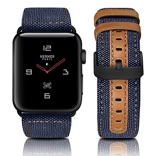 - Jobese Compatible with Apple Watch Band 42mm/44mm 38mm/40mm, Classic Canvas Fabric Straps Black Buckle Genuine Leather Compatible with Apple Watch (Dark-Blue + Black Buckle, 42MM/44MM)