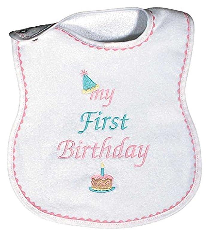 "Baby Girls ""My First Birthday"" Embroidered Bib, Pink"