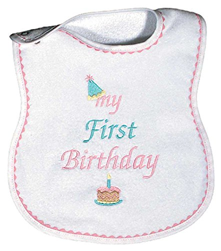 Raindrops My First Birthday Embroidered Bib, Pink