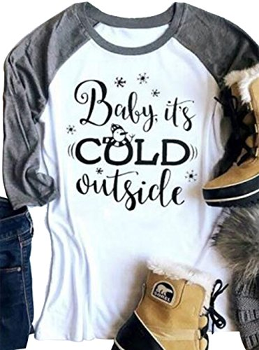Womens Baby It's Cold Outside Christmas Print 3/4 Sleeve Tunic Baseball T-Shirt size M (Gray)