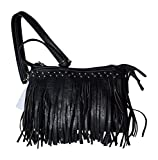 Womens Concealed Carry Purse with Fringe in Solid Faux Leather Clutch Style with Adjustable Strap (Black)