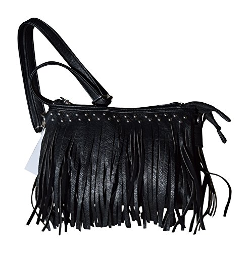 Womens Concealed Carry Purse with Fringe in Solid Faux Le...