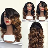 Lace Front Wigs Human Hair Wig Ombre Color Full Lace Human Hair with Baby Hair for Women (18'', lace frontal wig)