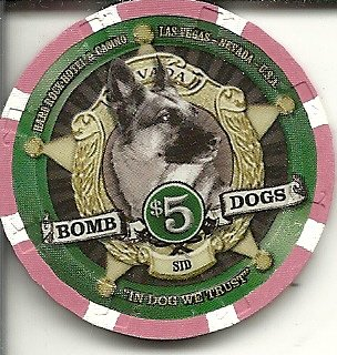 ($5 hard rock hotel bomb dogs sid las vegas casino chip)