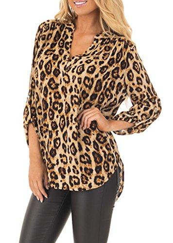 Women Blouse Casual Long Sleeve V-neck Leopard Chiffon Shirt - 1