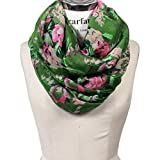 Scarfand's Floral Print Infinity Scarf Wraps Collection (Bouquet - Green)